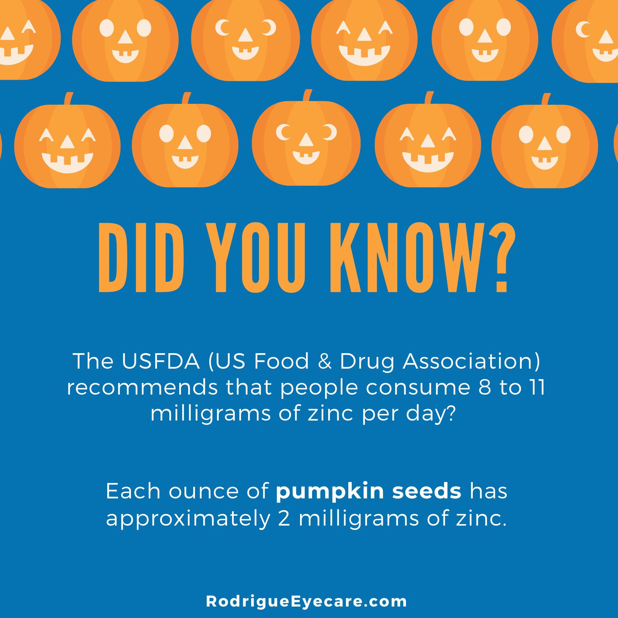 Image that reads, Did You Know? Each ounce of pumpkin seeds has approximately 2 milligrams of zinc.